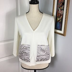 Zara W/B Collection Ivory Crop Top    Size: M